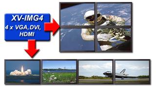 X-View Videowall Set Up 4x VGA, DVI, HTMI